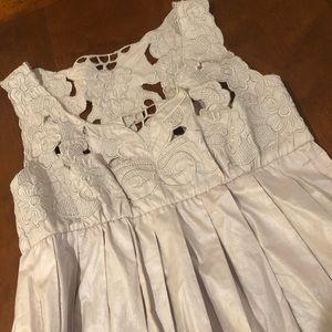 Lucca Lavender Gray Pleated Appliqué Dress